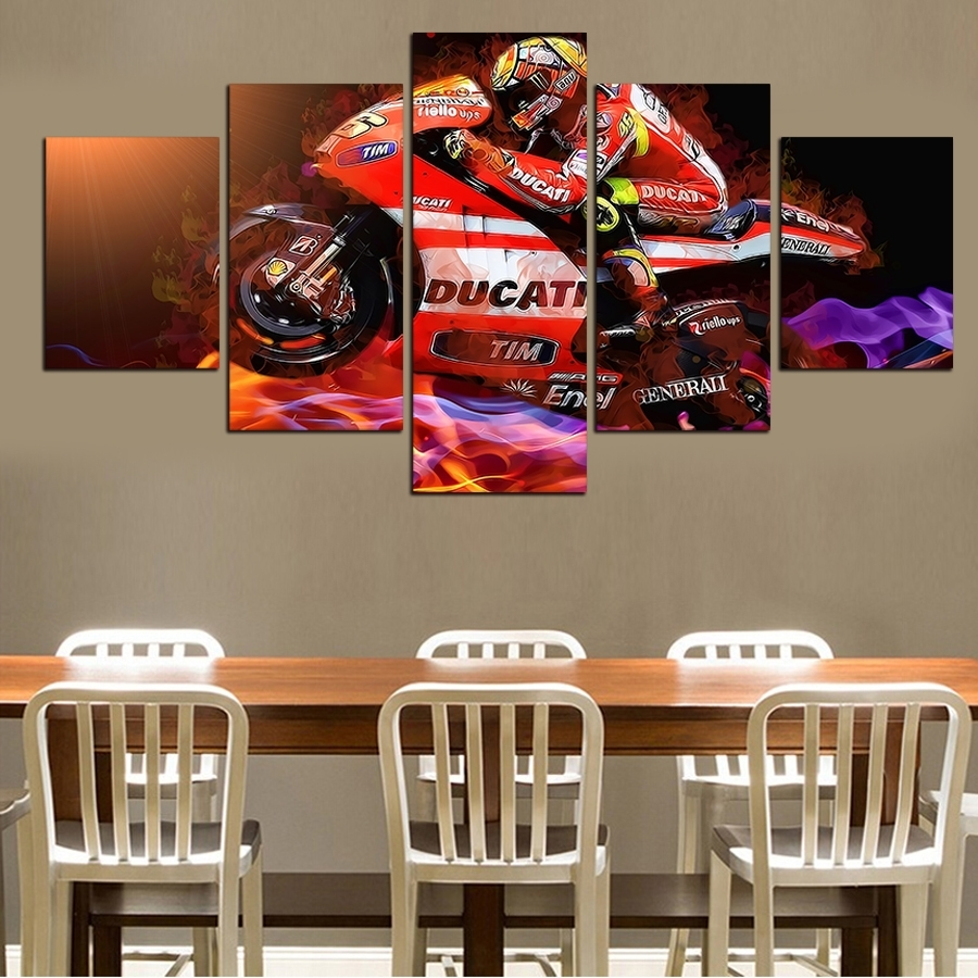 Hot Sell 5 Pieces Popular Modern Cool Motorcycle Wall Painting Home Pertaining To Most Recent Motorcycle Wall Art (View 9 of 20)