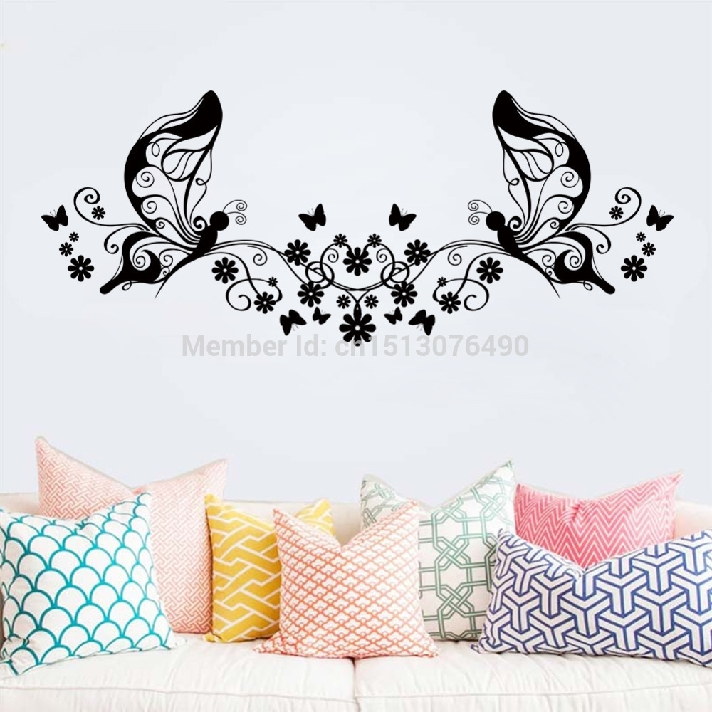 Hot Sellings 114*46Cm Classical Black Flower Butterfly Wall Art With Latest Butterfly Wall Art (Gallery 7 of 15)
