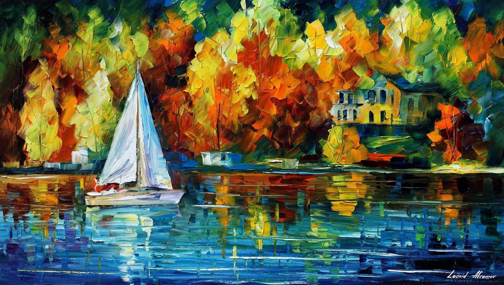 House Of The Lake — Palette Knife Oil Painting On Canvasleonid With 2017 Lake House Wall Art (View 9 of 15)