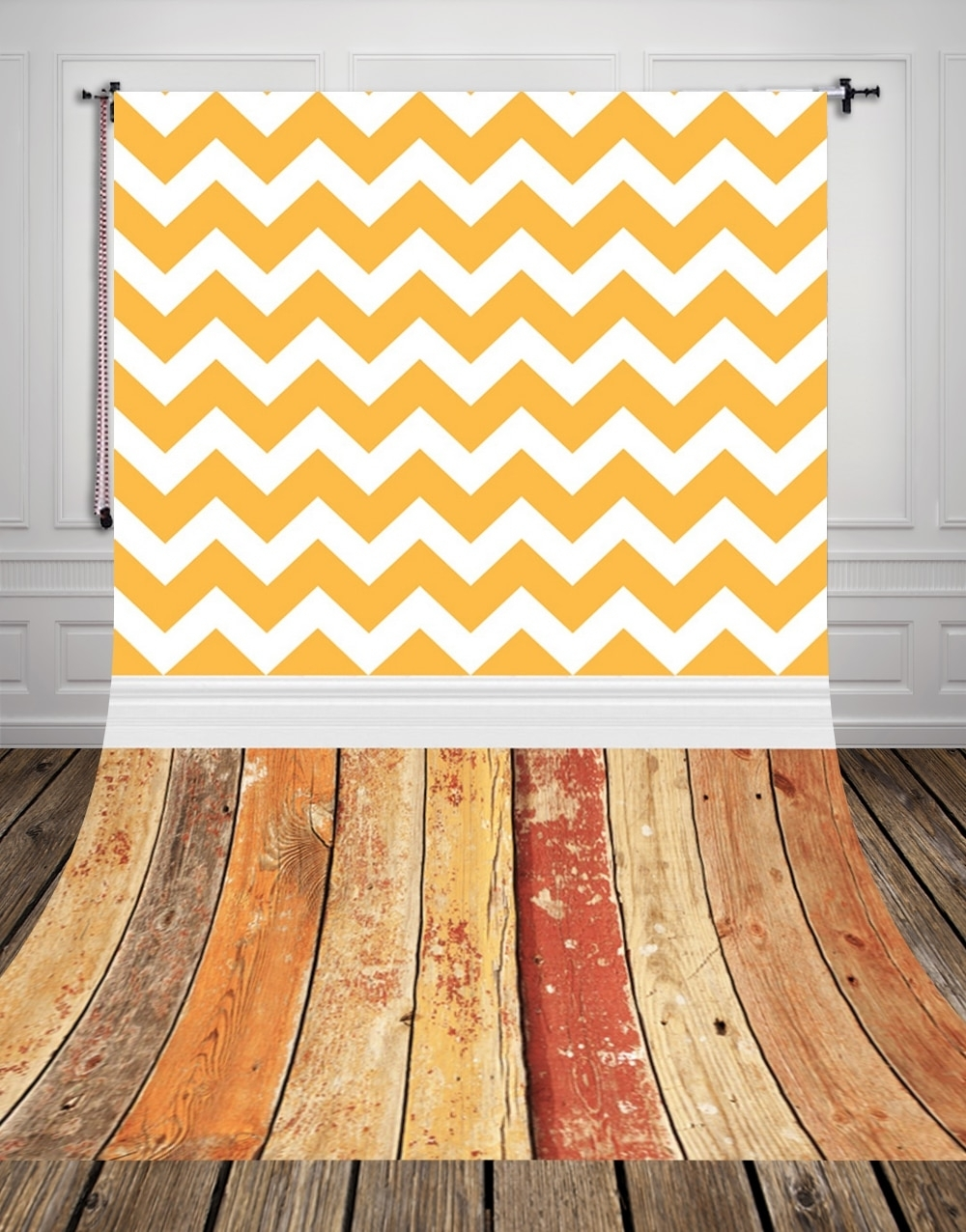 Huayi Vintage Wood Floor Backdrop Vintage Yellow Chevron Wall Art Inside Most Up To Date Chevron Wall Art (View 18 of 20)
