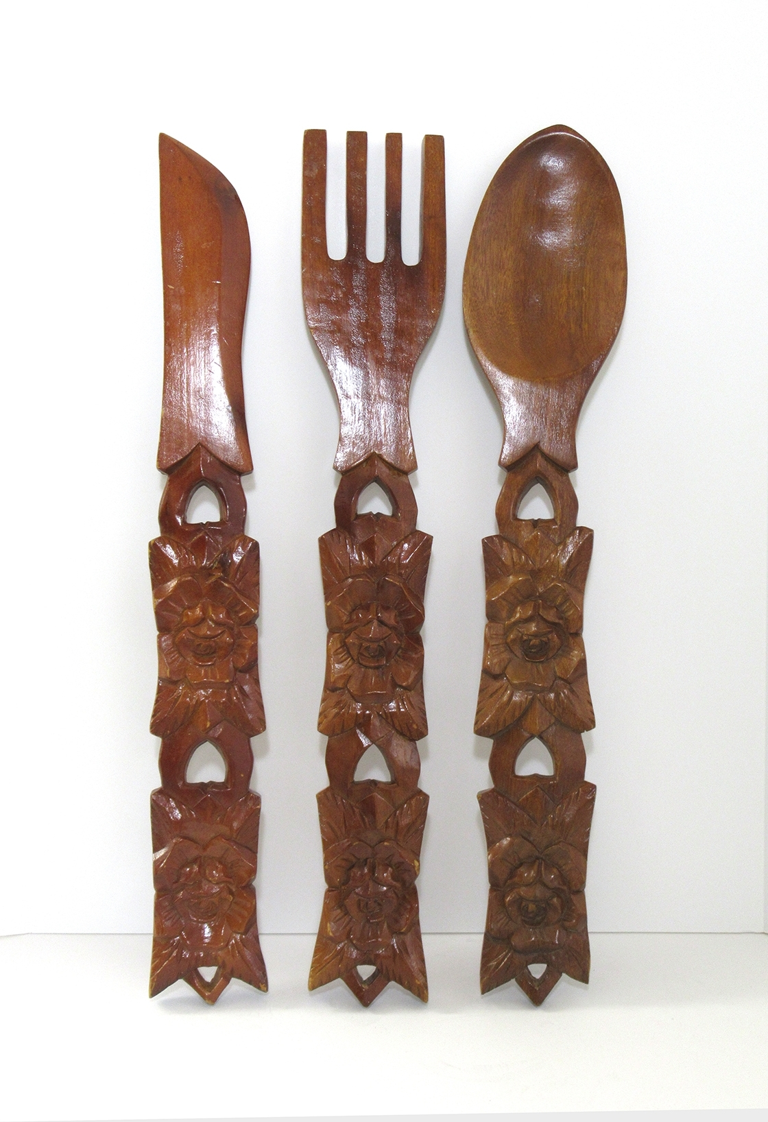 Huge Vintage Wall Art Fork Knife & Spoon In Hand Carved Wood For 2017 Fork And Spoon Wall Art (View 6 of 20)