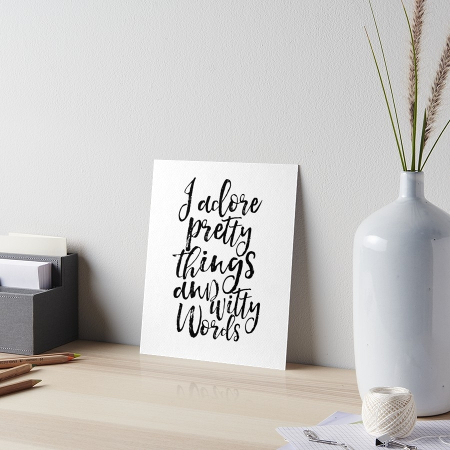 I Adore Pretty Things And Witty Words,kate Spade Quote,funny Print Pertaining To Most Current Kate Spade Wall Art (View 20 of 20)