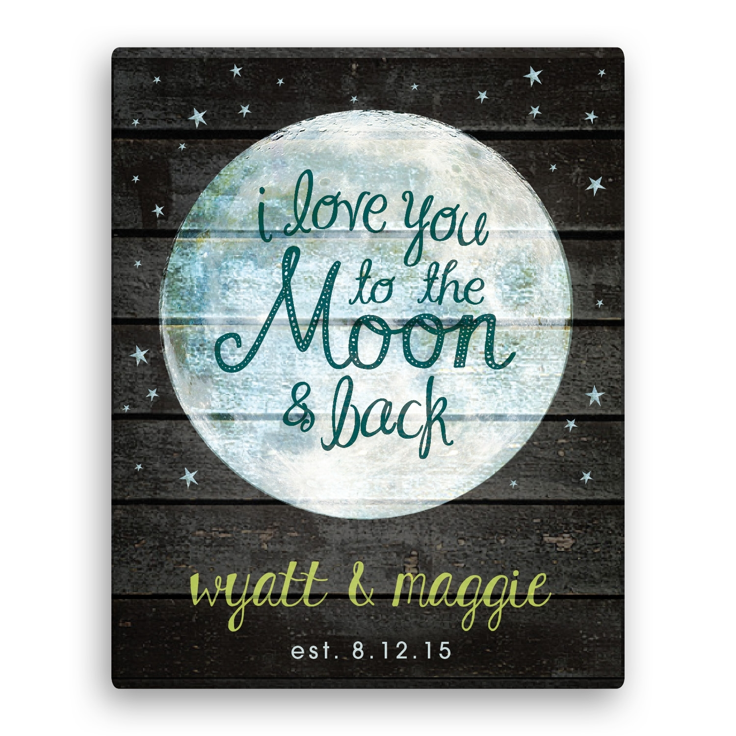 I Love You To The Moon And Back 11x14 Personalized Canvas With Regard To 2018 I Love You To The Moon And Back Wall Art (View 10 of 20)