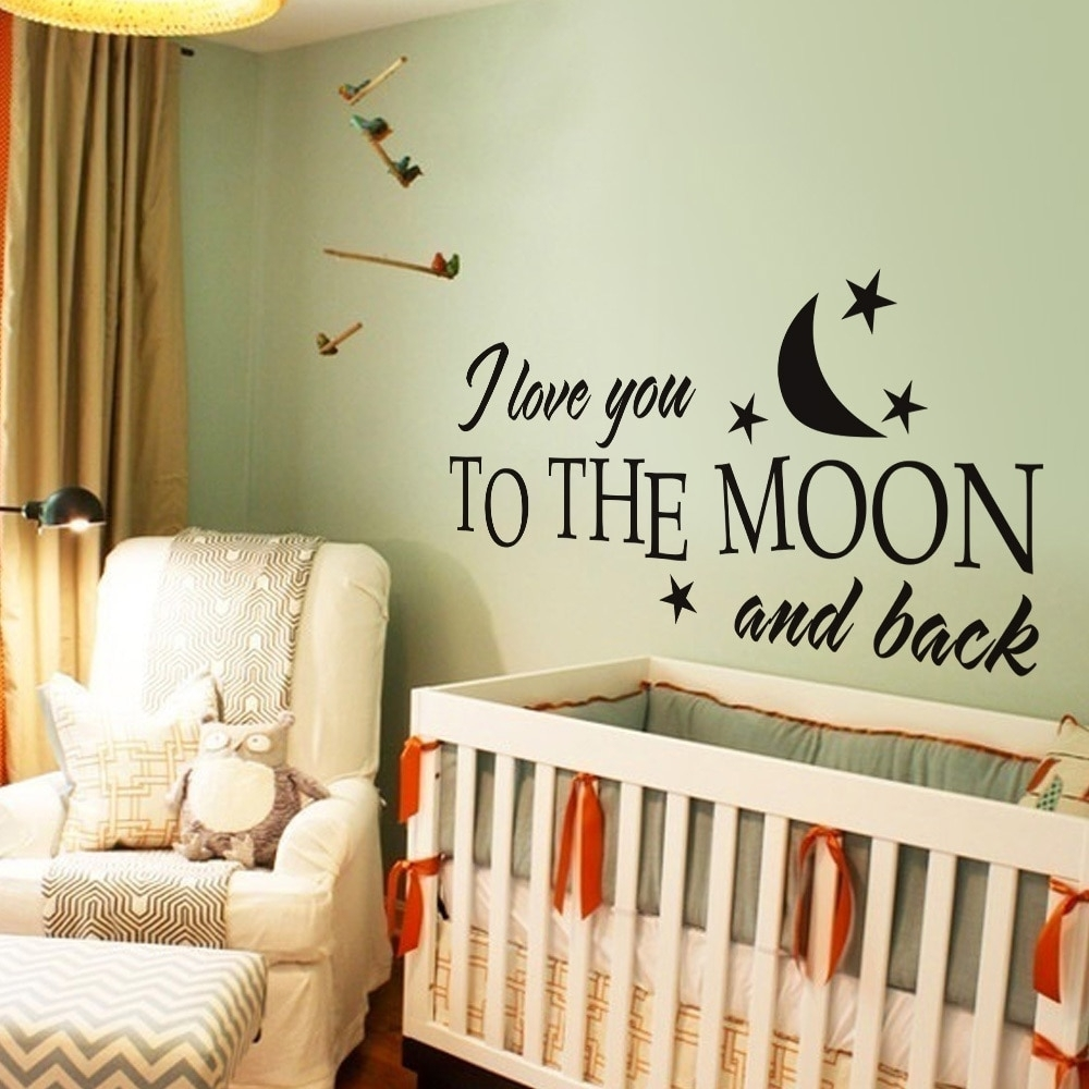 I Love You To The Moon And Back Romantic Love Vinyl Wall Decal With Regard To Recent I Love You To The Moon And Back Wall Art (View 3 of 20)