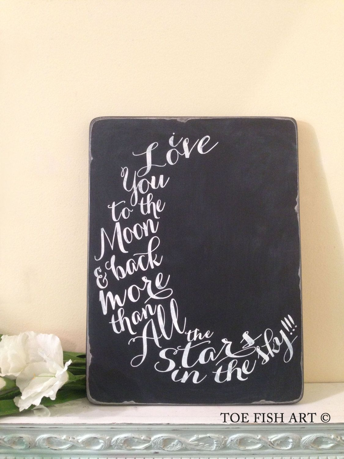 I Love You Too The Moon And Back, Canvas Print, Nursery Decor, Hand With Most Recently Released I Love You To The Moon And Back Wall Art (View 4 of 20)