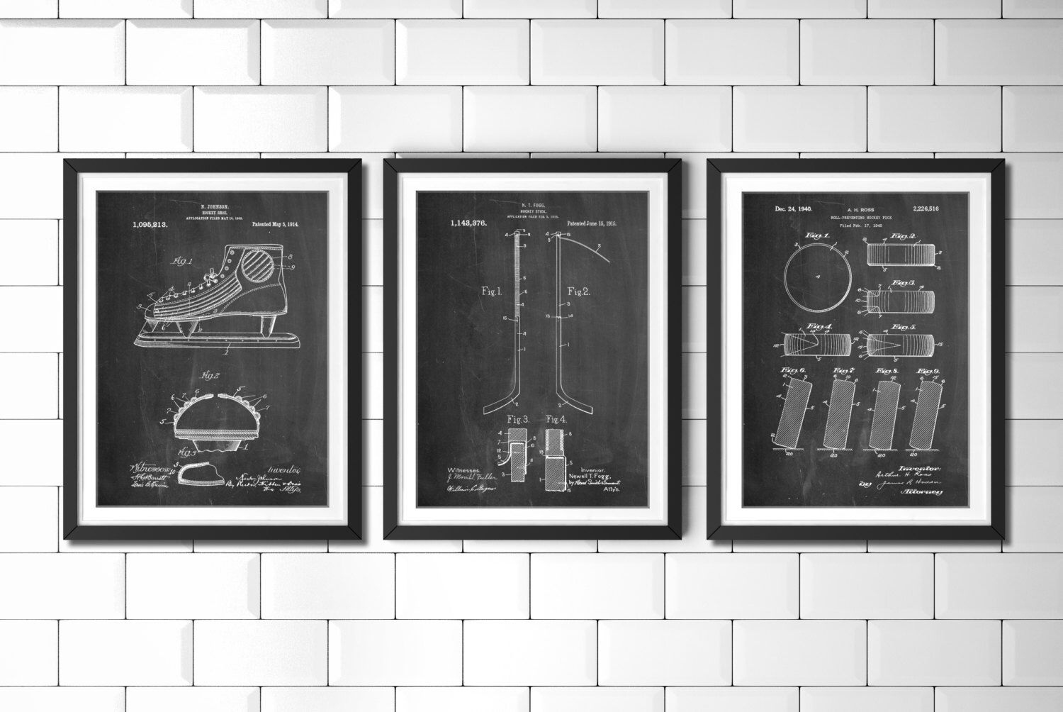Ice Hockey Patent Poster Group Of 3, Hockey Stick, Hockey Decor, Ice Inside Most Recently Released Hockey Wall Art (View 9 of 15)
