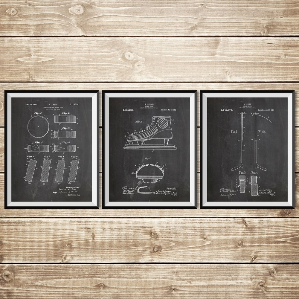 Ice Hockey Patent Posters Group Of 3, Hockey Stick, Hockey Decor In Latest Hockey Wall Art (View 10 of 15)