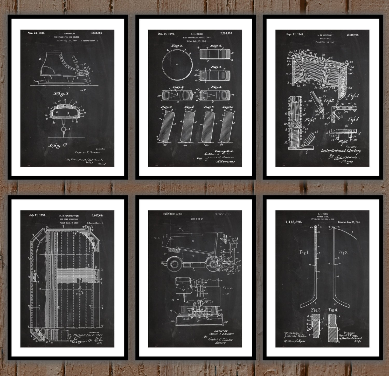 Ice Hockey Patent Print Set Of 6, Hockey Patent Prints, Hockey Intended For 2018 Hockey Wall Art (View 2 of 15)