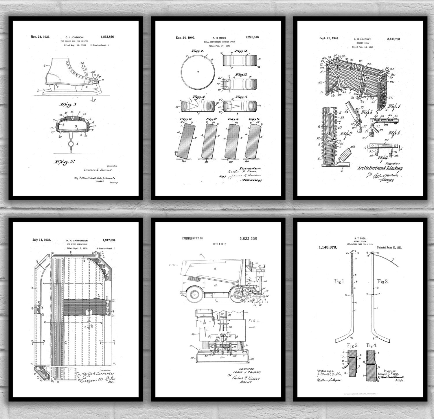 Ice Hockey Patent Print Set Of 6, Hockey Patent Prints, Hockey Throughout Newest Hockey Wall Art (View 12 of 15)