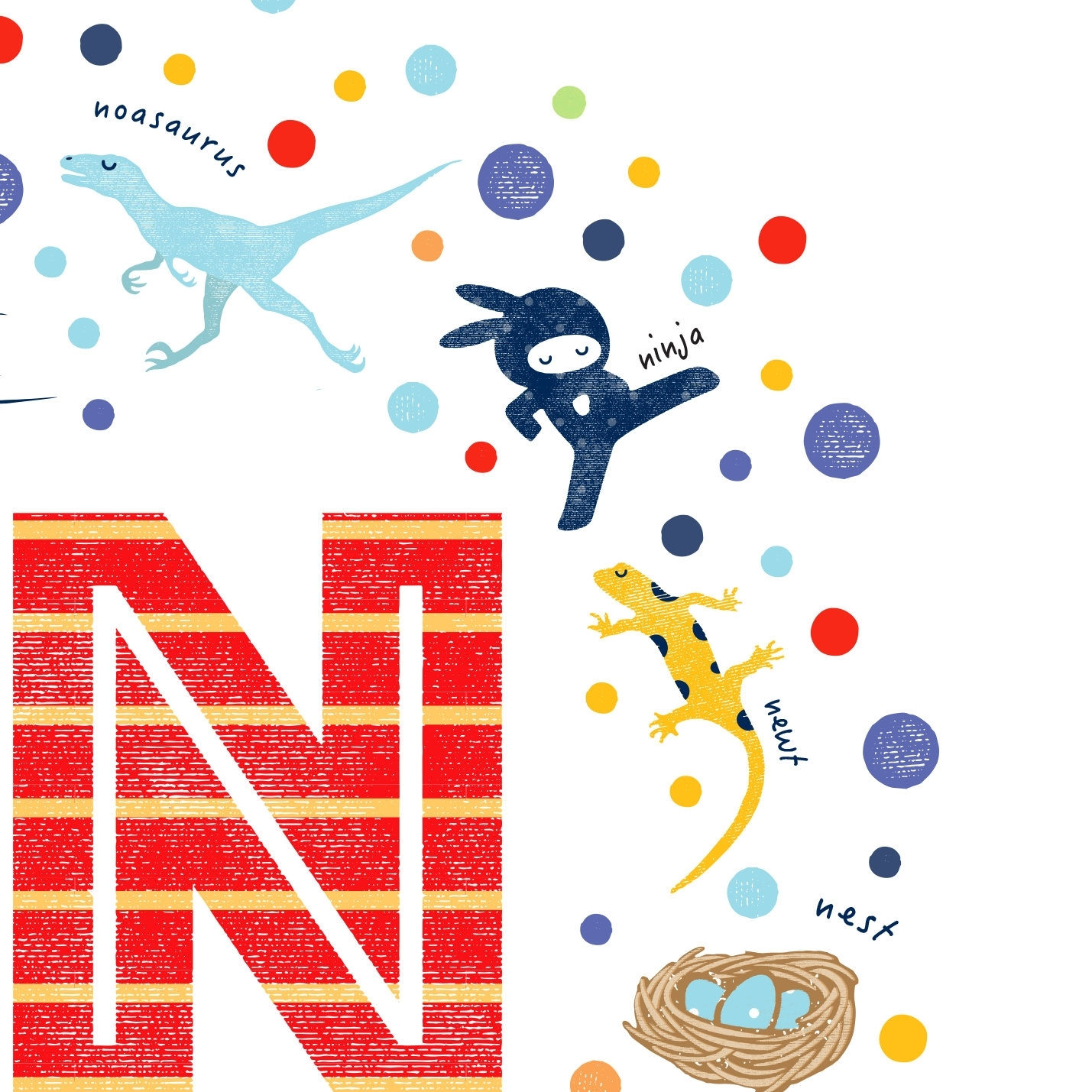 Illustrated Letter N Nursery Print, Kids Wall Art Ideas For Most Recently Released Kids Wall Art (View 3 of 15)