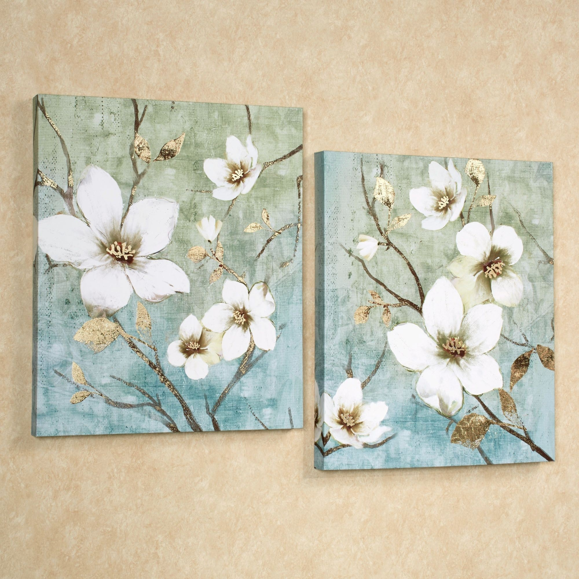 In Bloom Floral Canvas Wall Art Set For Most Recent Floral Canvas Wall Art (View 11 of 20)