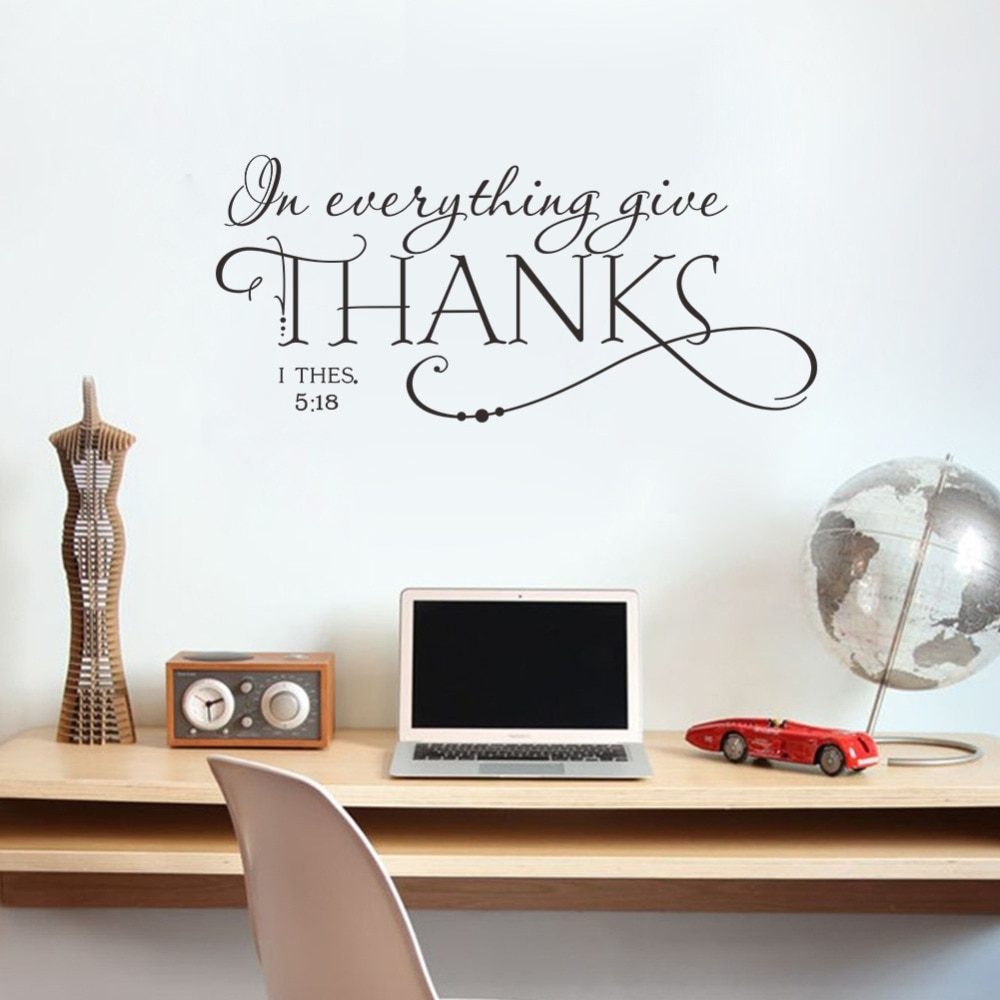 In Everything Give Thanks Christian Jesus Quotes Wall Stickers Home For Most Recent Wall Art Decals (Gallery 1 of 15)