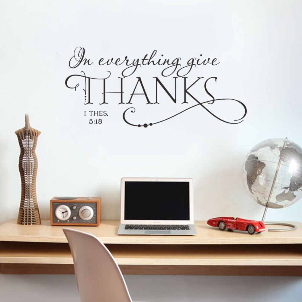 In Everything Give Thanks Christian Jesus Vinyl Quotes Wall Sticker Intended For Recent Wall Sticker Art (View 6 of 15)