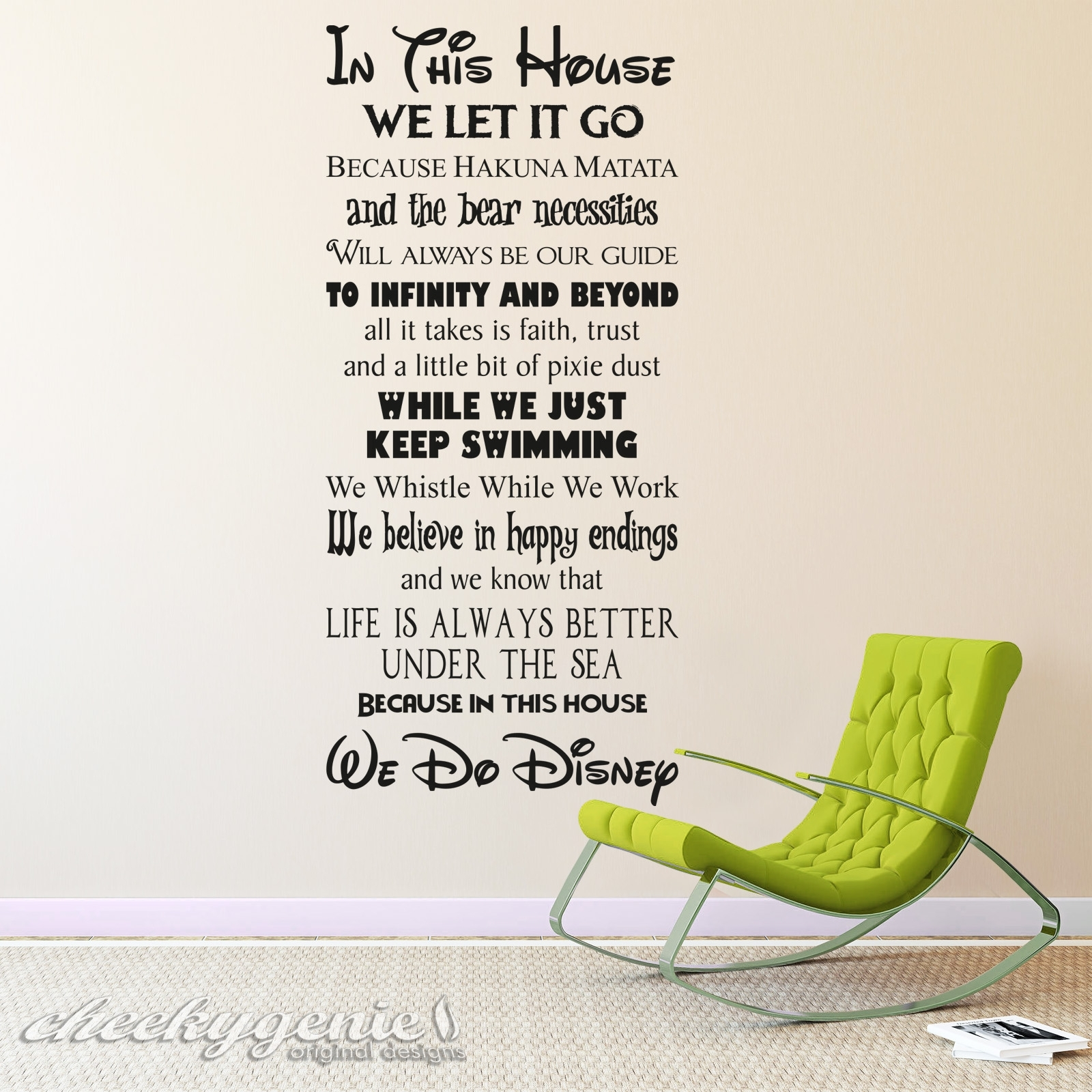 In This House We Do Disney Style Quote Rules Vinyl Wall Art Sticker With Most Current Quote Wall Art (View 7 of 20)