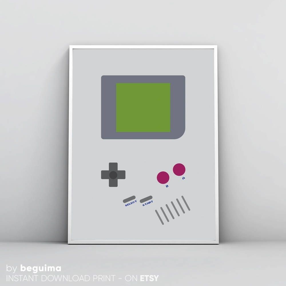 Inspired Game Boy Print, Nintendo Wall Art, Videogames Poster, Geek With 2017 Nintendo Wall Art (View 6 of 20)