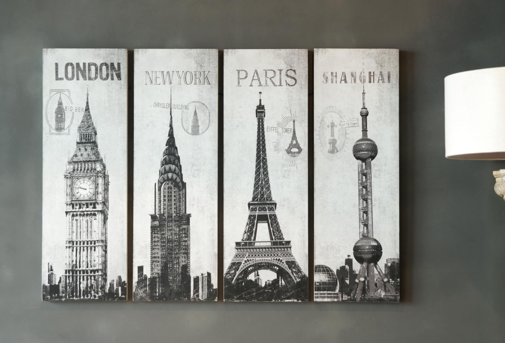 Inspiring Set Of 4 Pieces Large Wall Art Hang On Grey Wall Painted Throughout Most Recently Released Grey Wall Art (View 14 of 20)