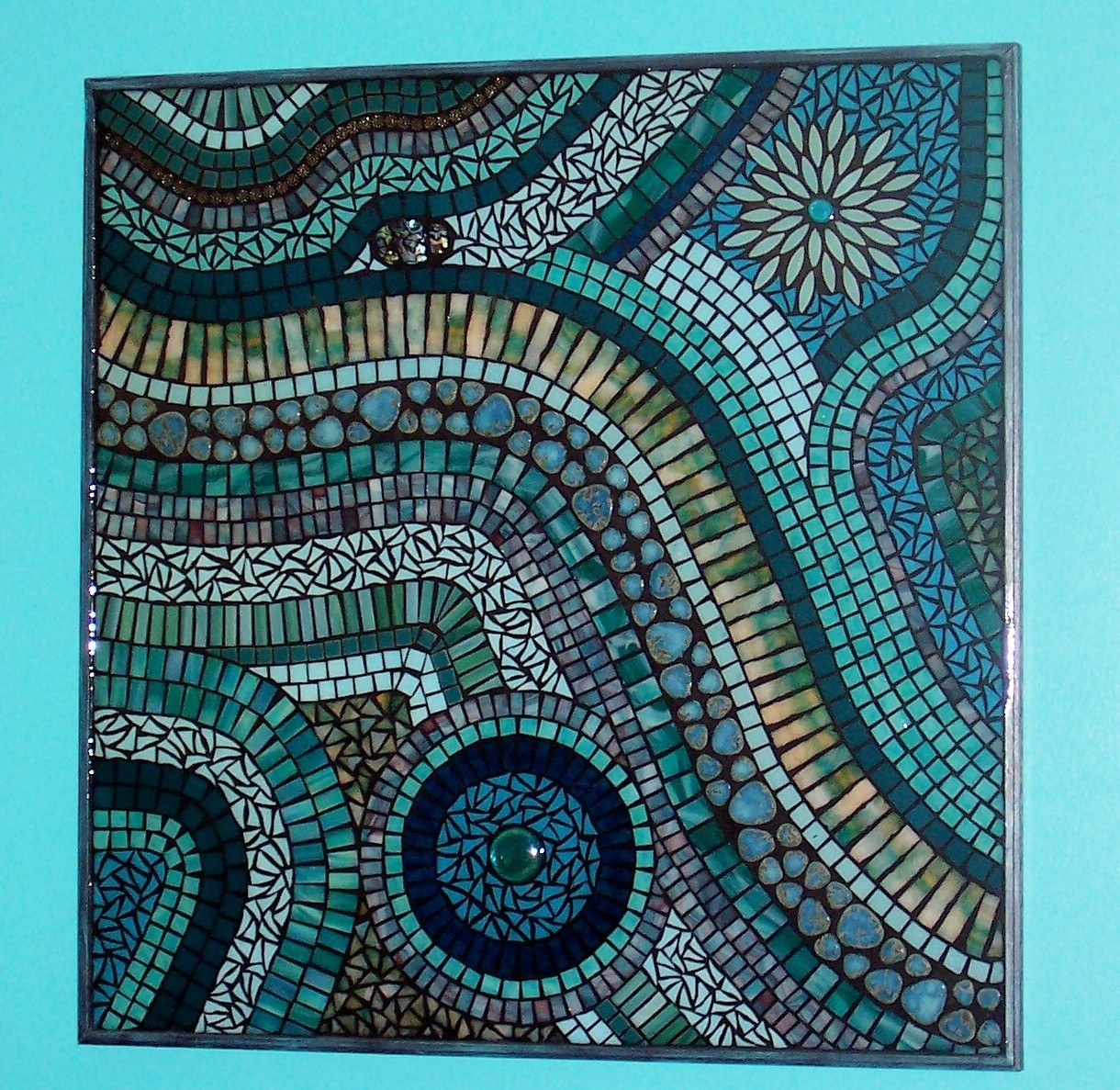Interesting Wall Art Ideas Design Blue Colored Glass Mosaic Wall Art Within Latest Mosaic Wall Art (View 6 of 15)
