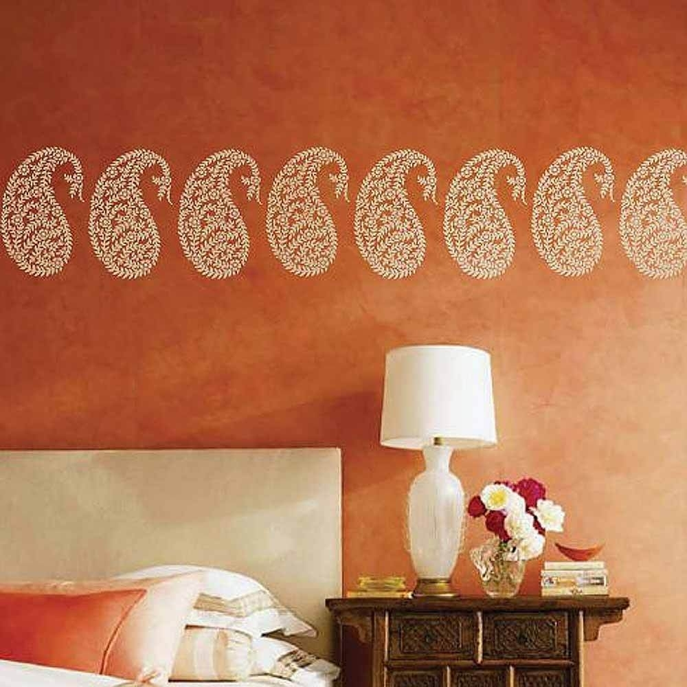 Jaipur Paisley Wall Art Stencil – Small – Reusable Ethnic Stencil Inside Best And Newest Stencil Wall Art (View 11 of 20)