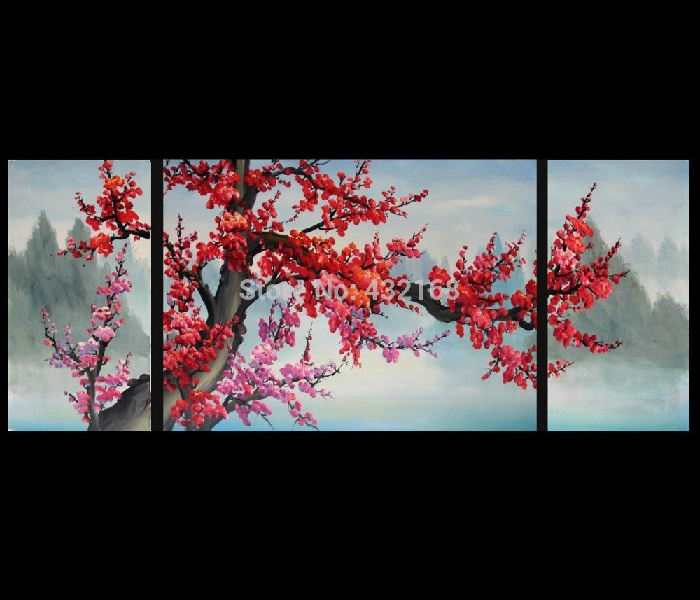 Japanese Cherry Blossom Abstract Art Paintings Modern Wall Art Decor In Best And Newest Japanese Wall Art (View 8 of 20)