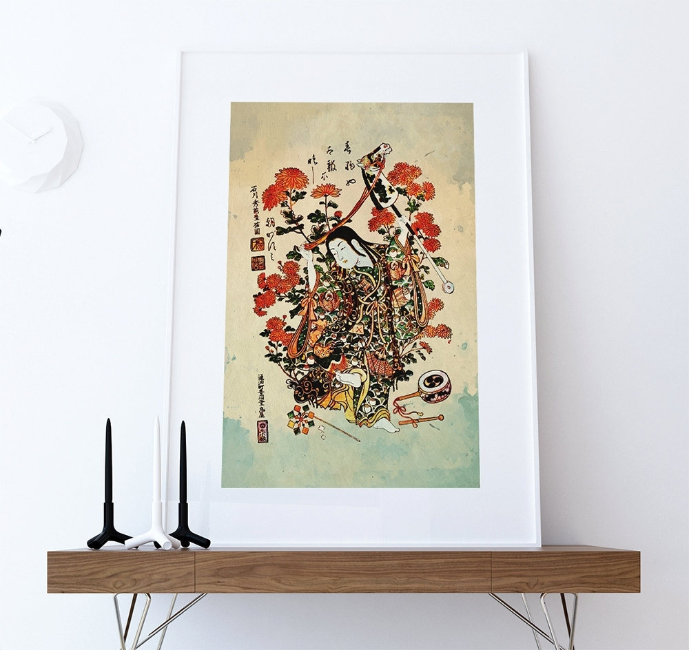 Japanese Print Art Vintage Wood Block Print On Cotton Canvas And Inside Latest Japanese Wall Art (View 10 of 20)