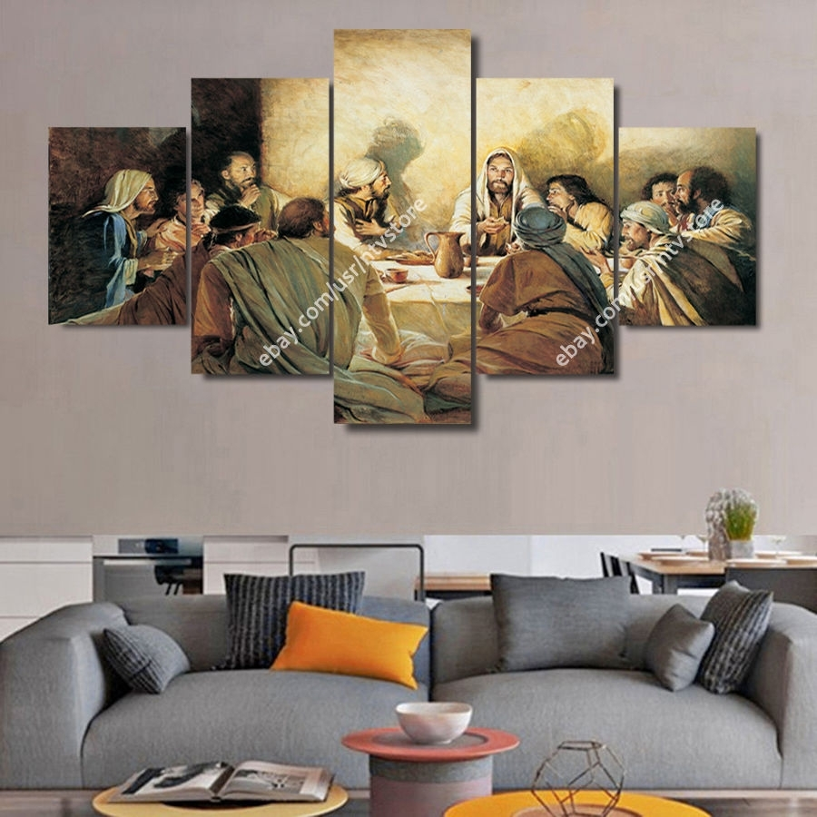 Jesus Christ Wall Art Framed Canvas Print The Last Supper Christian With Most Recently Released Modern Framed Wall Art Canvas (Gallery 6 of 20)