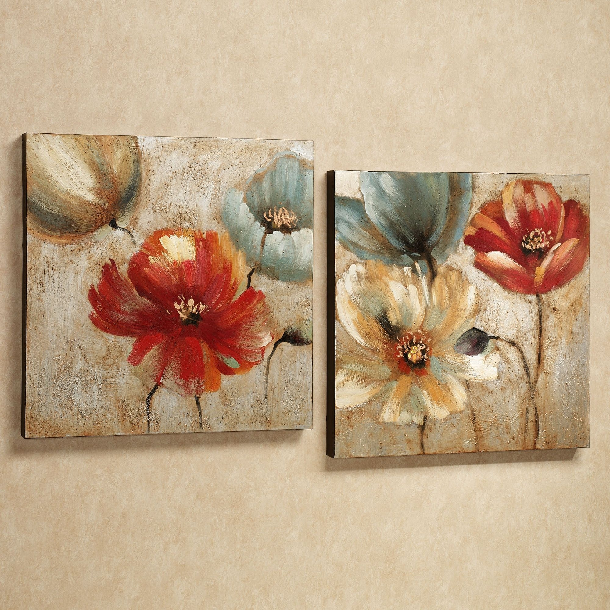 Joyful Garden Floral Canvas Wall Art Set | Poppy – Wall Art For 2018 Canvas Wall Art Sets (View 6 of 15)