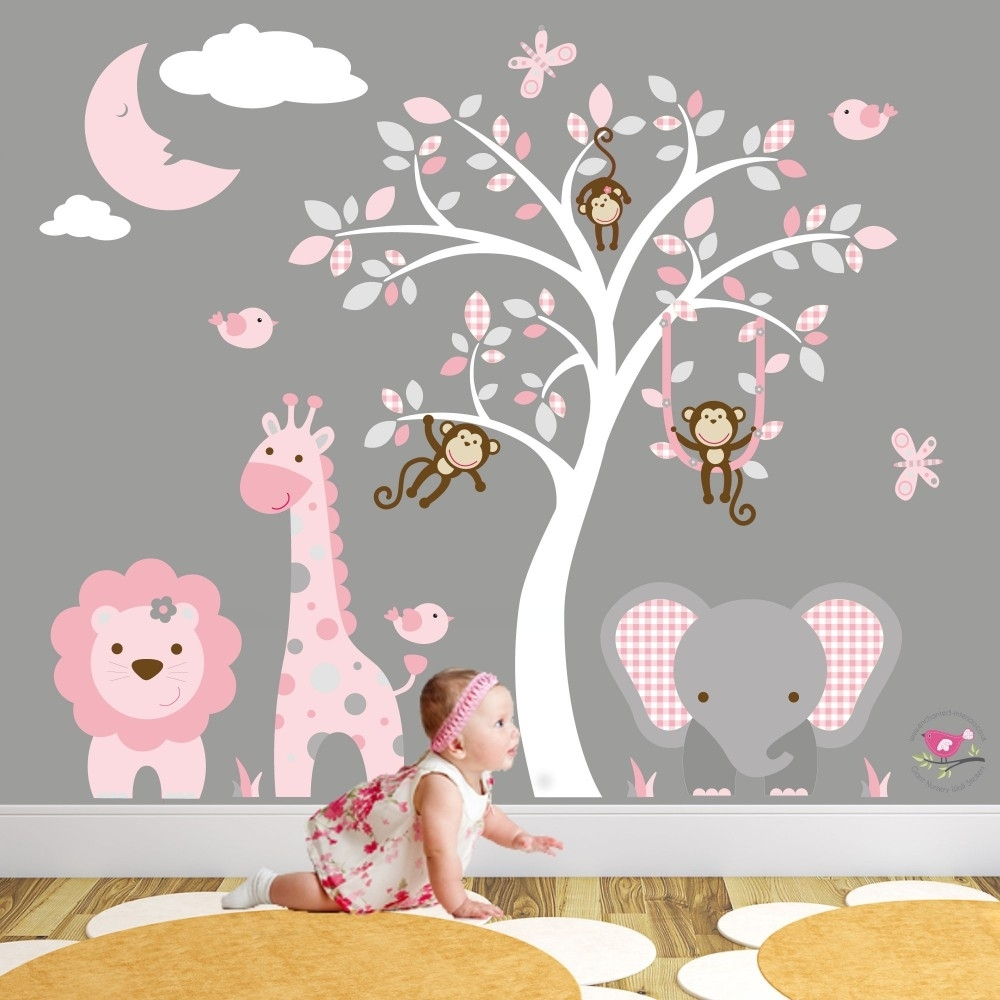 Jungle Animal Nursery Wall Art Stickers Regarding Most Recent Baby Room Wall Art (Gallery 3 of 20)