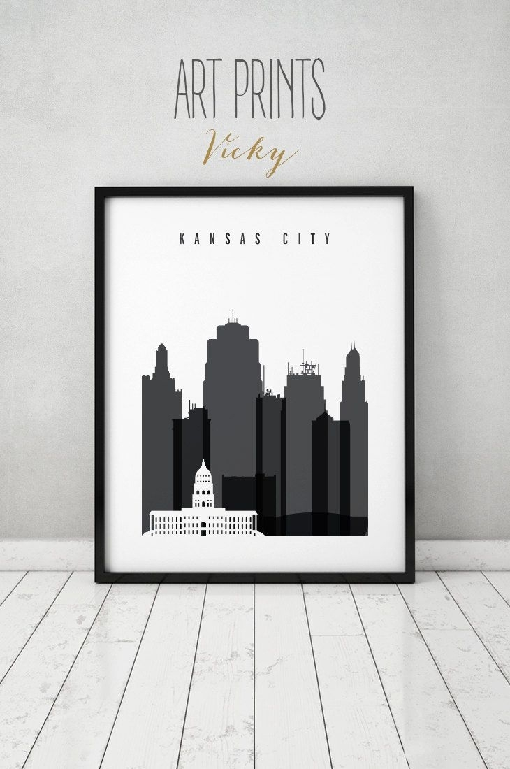 Kansas City Black And White Print, Poster, Wall Art, Travel In Most Recently Released Kansas City Wall Art (View 3 of 20)