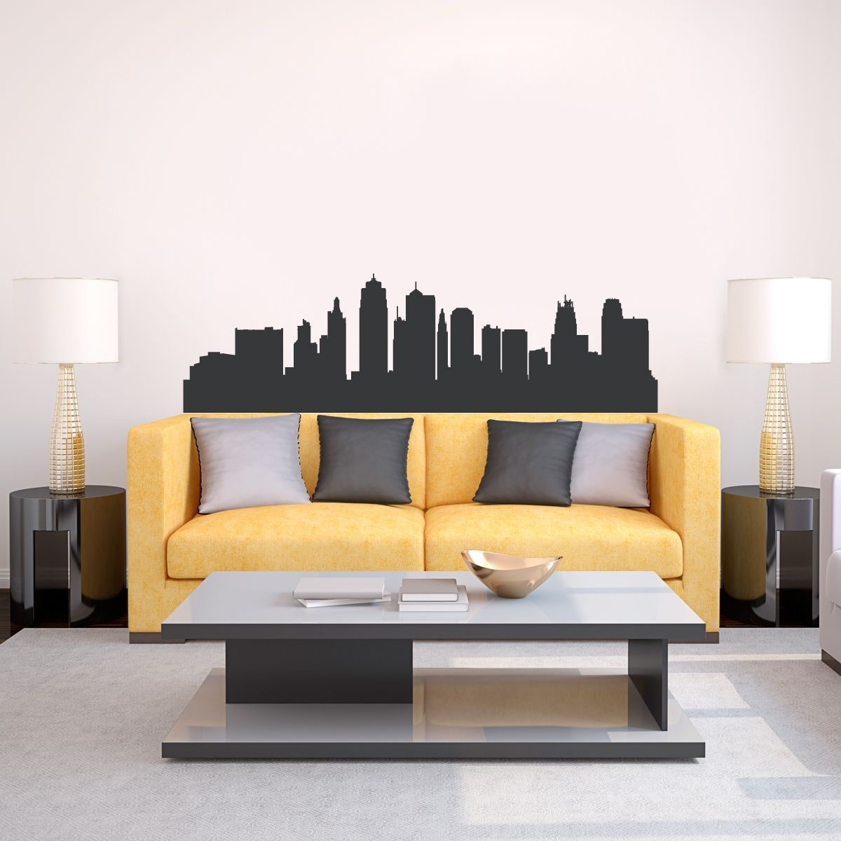 Kansas City Missouri Skyline Vinyl Wall Decal Sticker Throughout Latest Kansas City Wall Art (View 12 of 20)