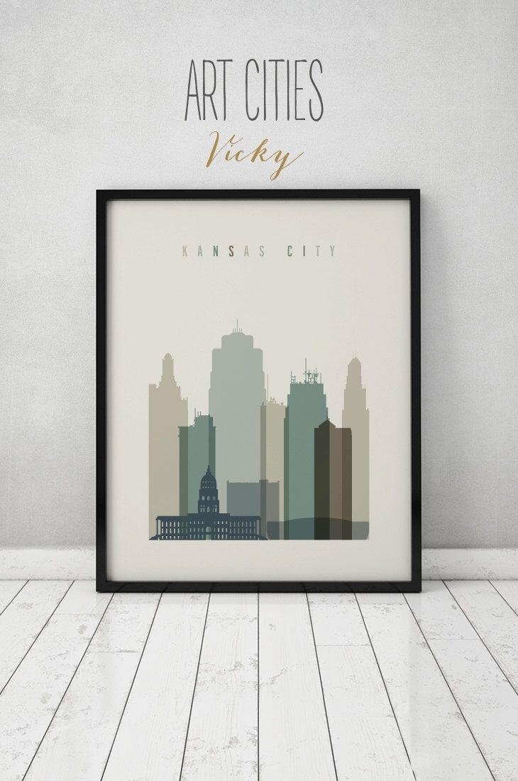 Kansas City Print, Wall Art, Kansas City Skyline, Kansas City Poster Pertaining To Most Up To Date Kansas City Wall Art (View 4 of 20)