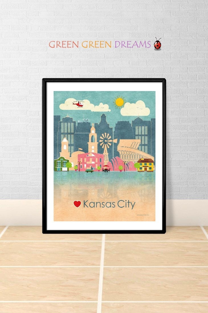 Kansas City Wall Art Print Poster Kansas Print Kansas City Skyline For Latest Kansas City Wall Art (View 11 of 20)