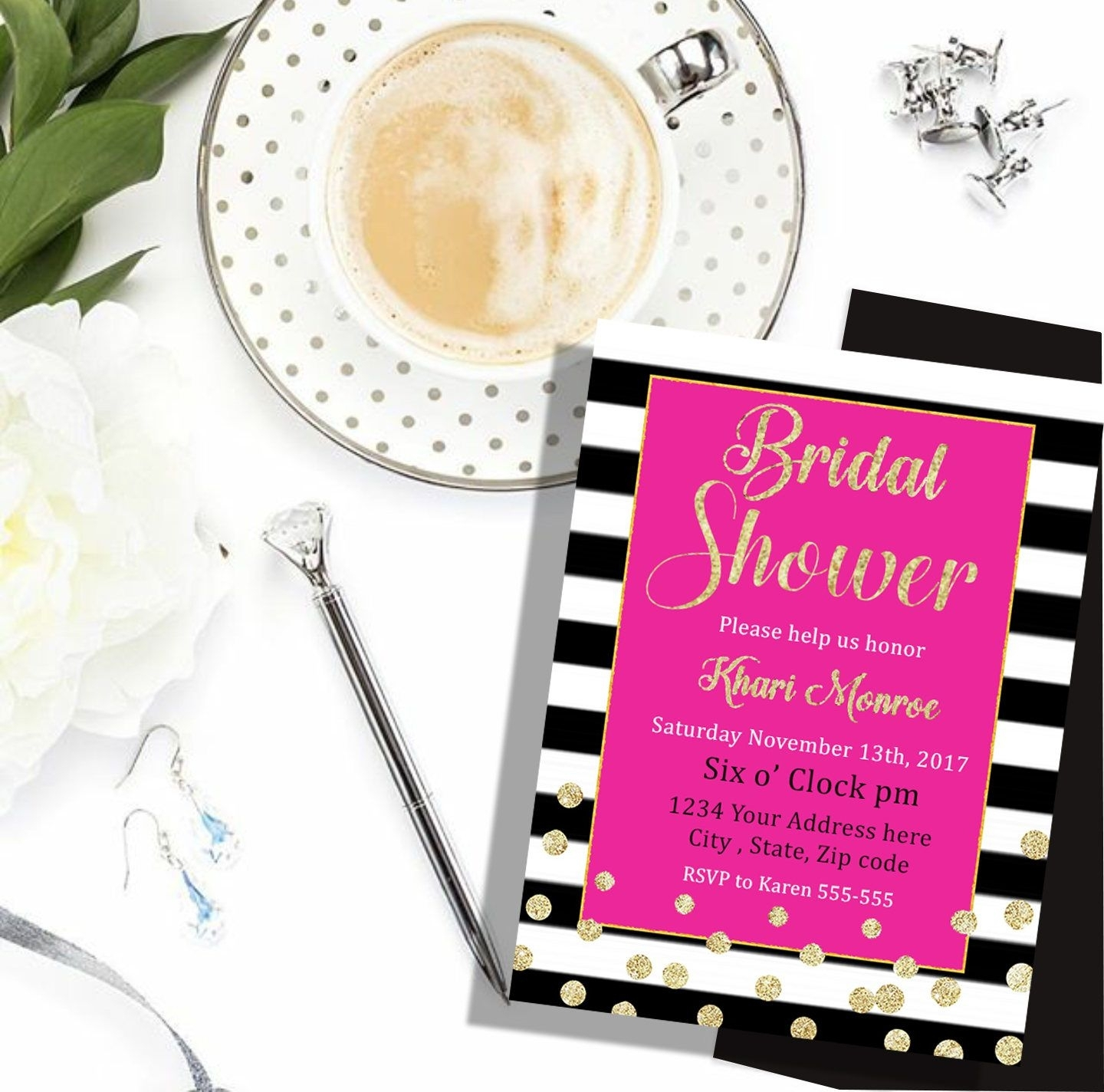Kate Spade Invitation, Bridal Shower, Printable, Spade Party, Pink With 2017 Kate Spade Wall Art (View 12 of 20)