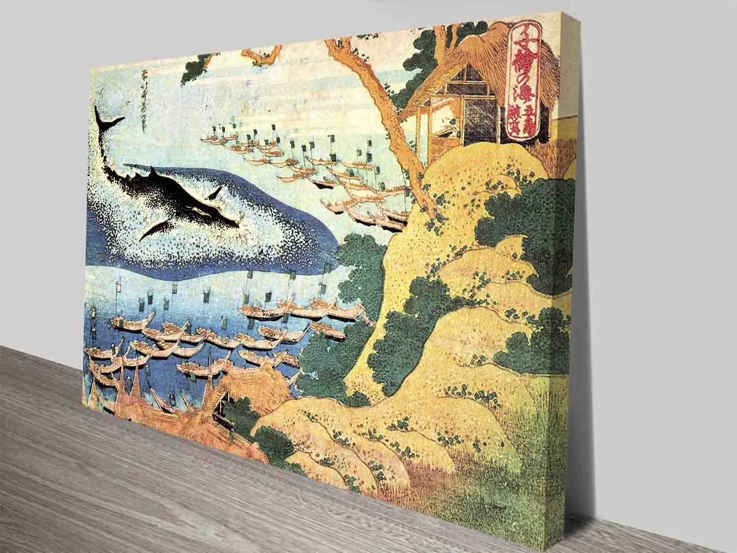 Katsushika Hokusai Ocean Landscape And Whale Wall Art Prints On With Most Up To Date Whale Canvas Wall Art (Gallery 7 of 20)