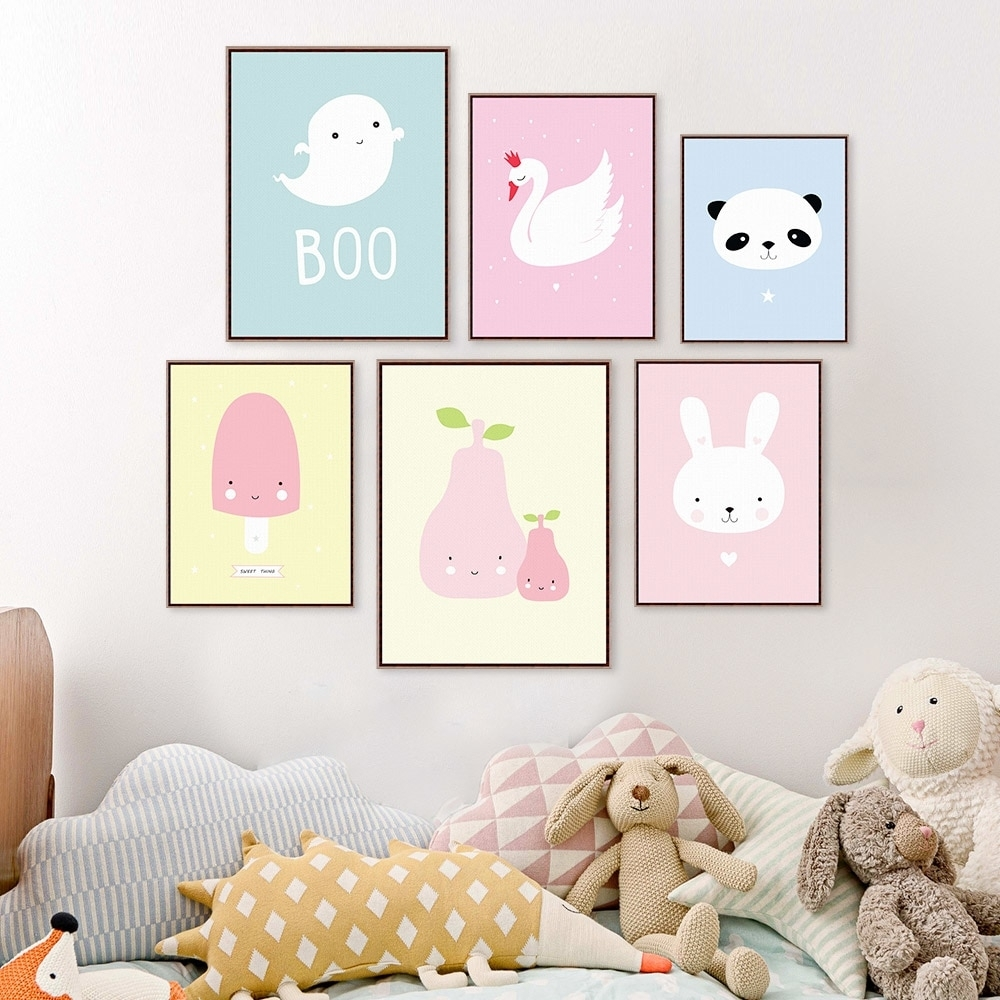 Kawaii Animal Panda Poster Print A4 Modern Nordic Cartoon Nursery Regarding Latest Baby Room Wall Art (View 15 of 20)