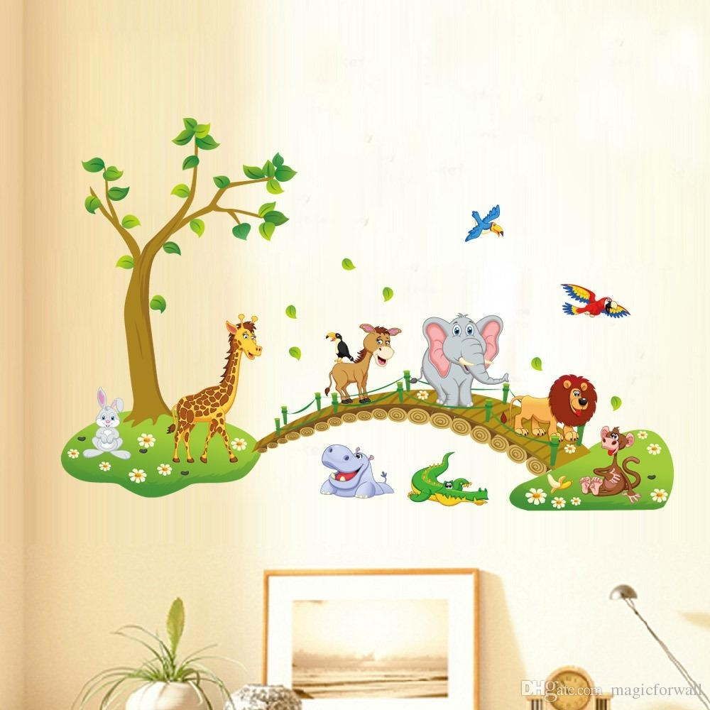 Kids Babies Boys Girls Room Wall Decor Poster Cartoon Animals Lined Throughout Best And Newest Baby Room Wall Art (Gallery 5 of 20)