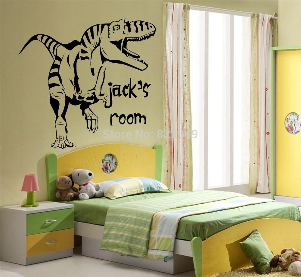 Kids Room Vinyl Wall Stickers Personalised Dinosaur Giant Wall Art Regarding Best And Newest Giant Wall Art (Gallery 13 of 20)