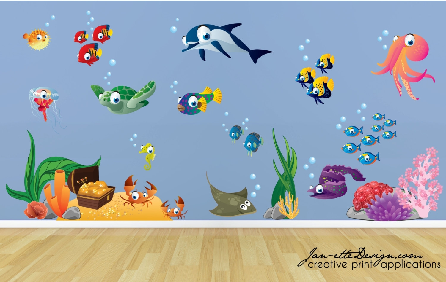 Kids Wall Decalsfish And Deep Unique Under The Sea Wall Decals In Most Up To Date Kids Wall Art (Gallery 15 of 15)