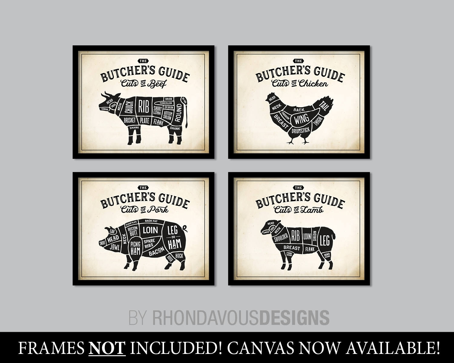 Kitchen Art. Butcher Chart. Butcher Diagram. Butcher Print (View 13 of 20)