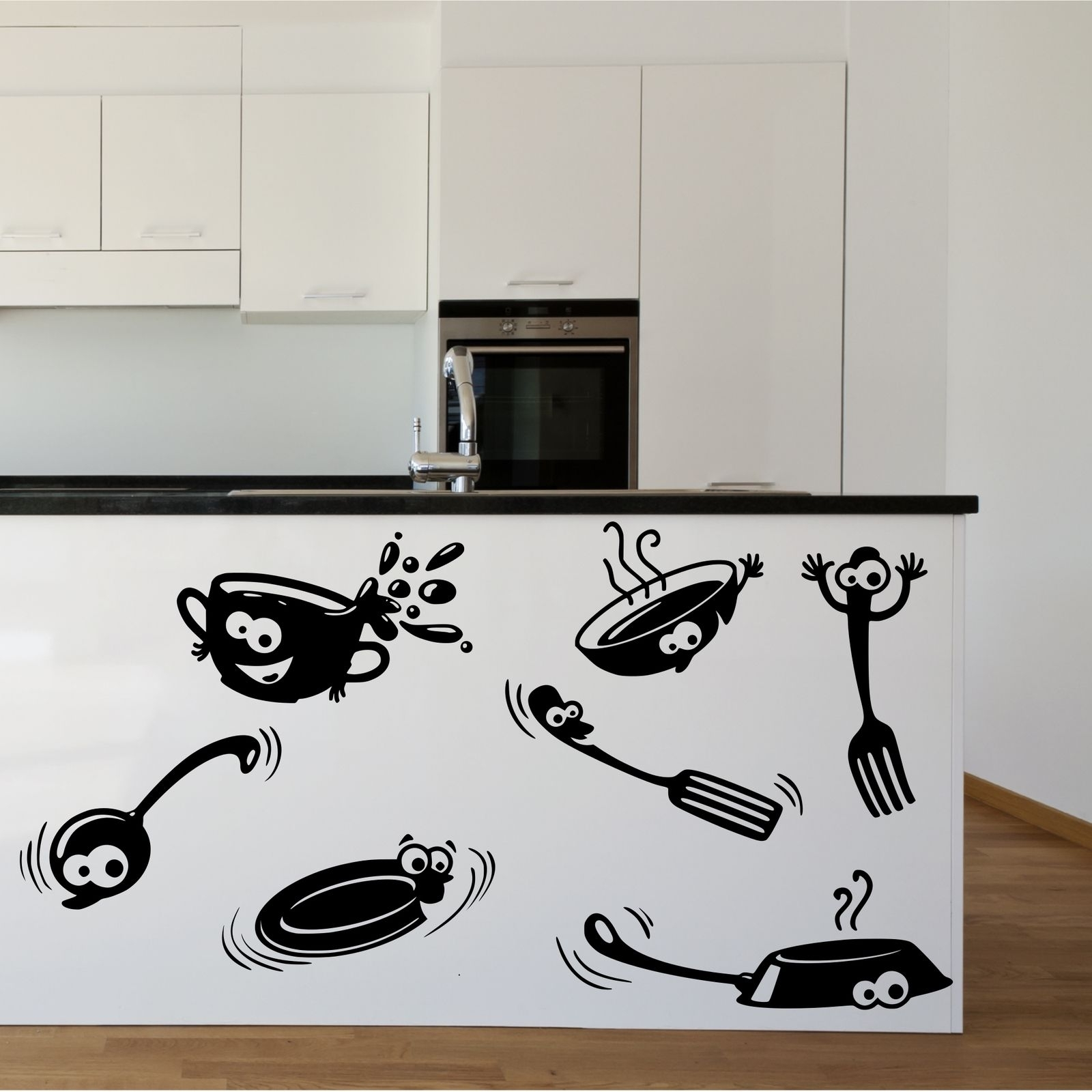 Kitchen Cupboard Cartoon Stickers Vinyl Wall Art Decal Transfer Inside Latest Stencil Wall Art (Gallery 17 of 20)