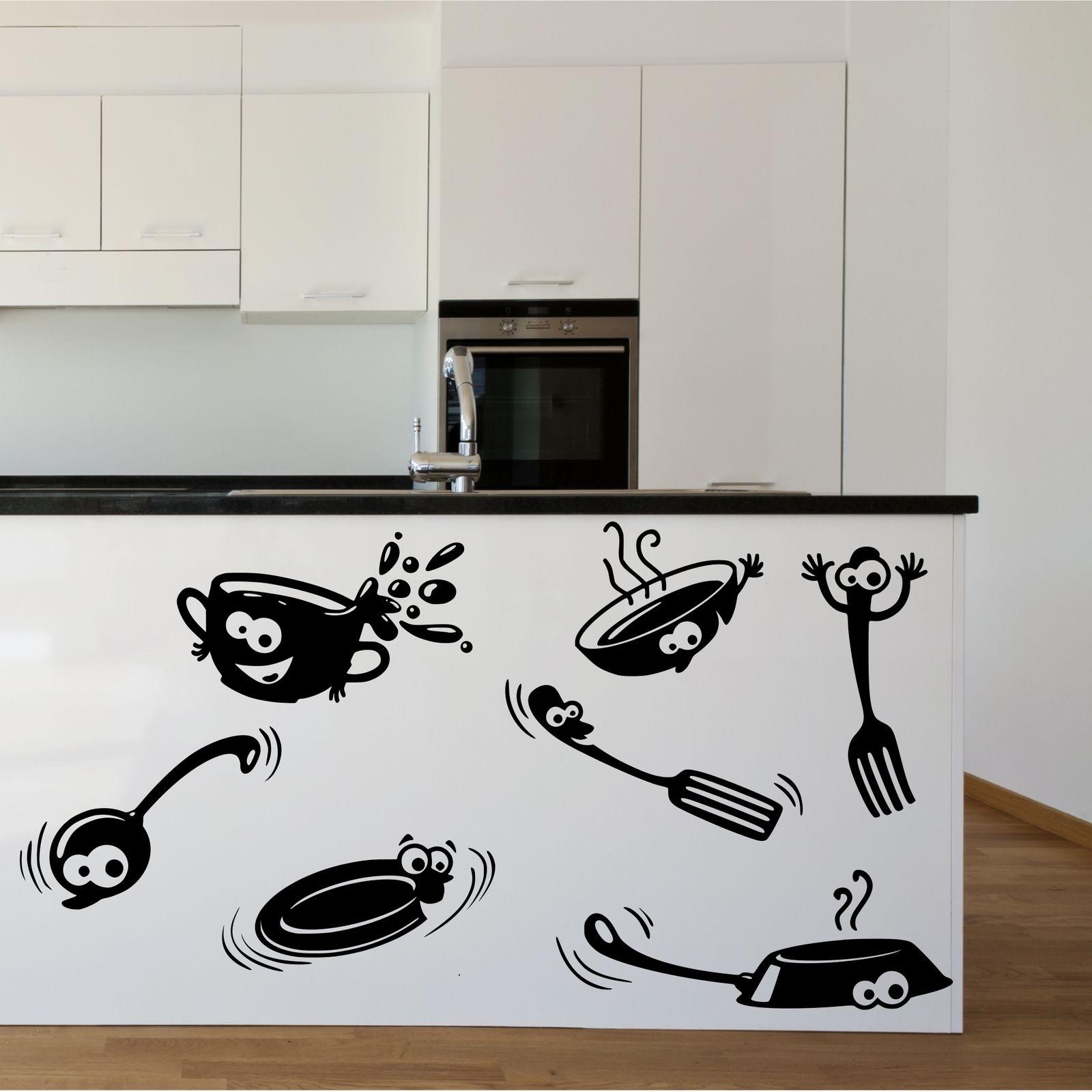 Kitchen Cupboard Cartoon Stickers Vinyl Wall Art Decal Transfer Inside Latest Stencil Wall Art (View 17 of 20)