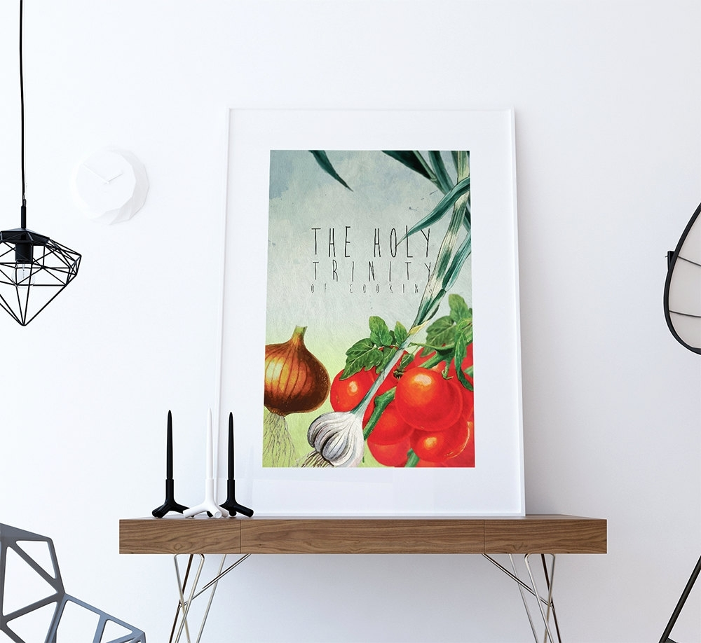 Kitchen Print Kitchen Decor Holy Trinity Of Cooking Art Rustic Inside Best And Newest Kitchen Canvas Wall Art Decors (View 19 of 20)