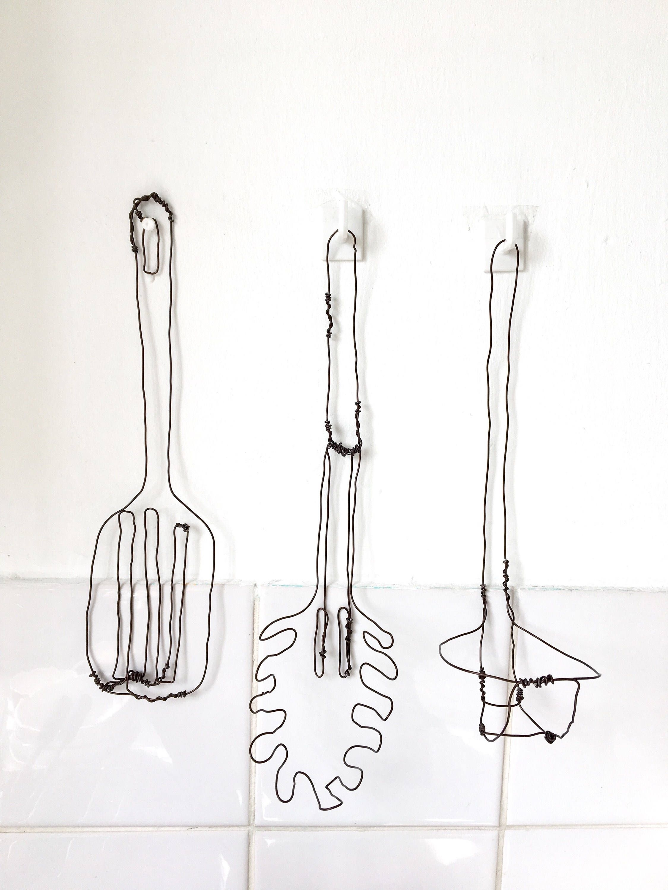 Kitchen Utensils  Kitchen Wall Art  Kitchen Decor  Wire Utensils Pertaining To Most Recently Released Wire Wall Art (View 10 of 20)