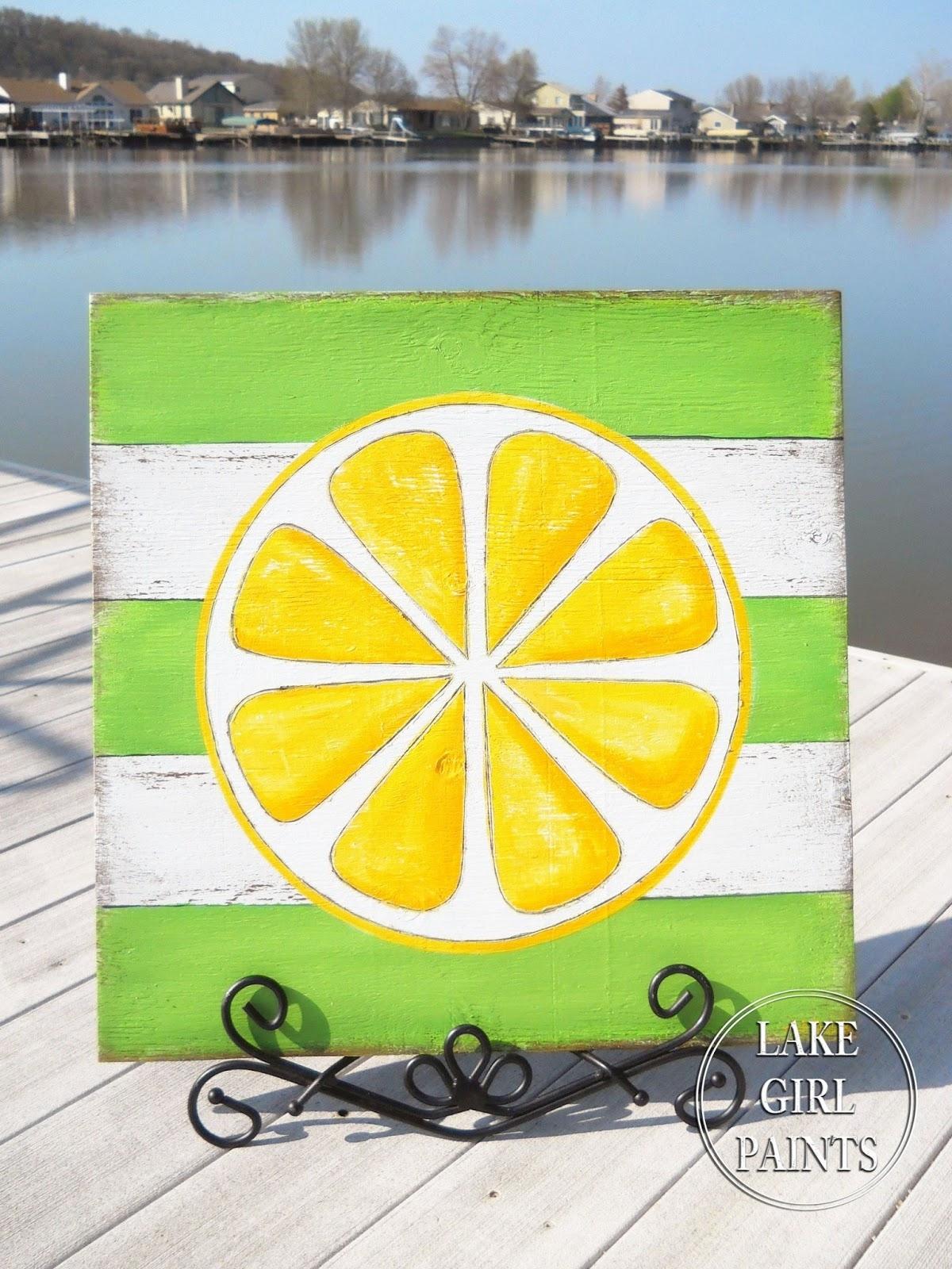 Lake Girl Paints: Diy Wall Art - Citrus Stripes throughout 2018 Lemon Wall Art