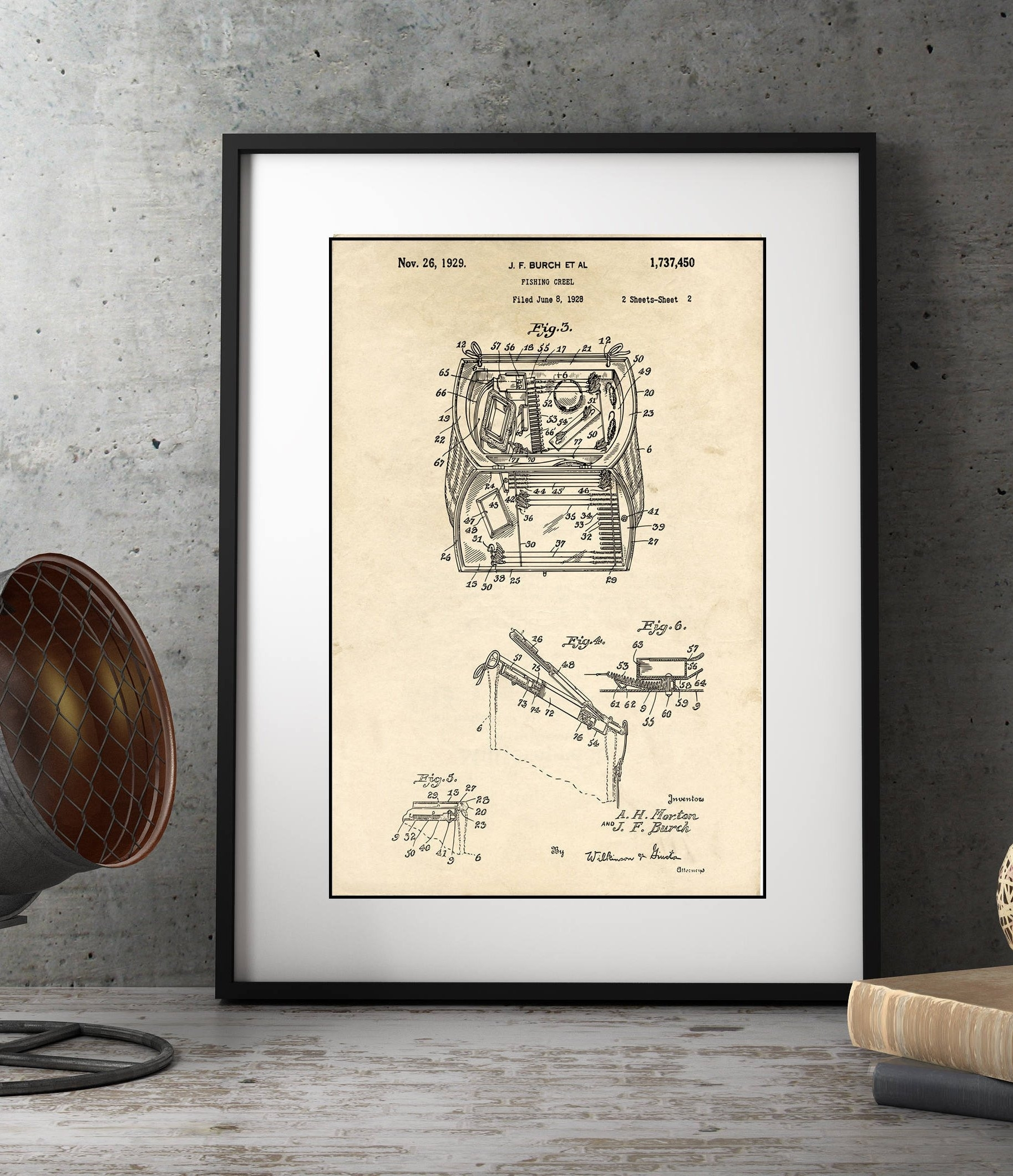 Lake House Decor, Fishing Creel Patent Illustration, Farmhouse Decor Inside Latest Lake House Wall Art (View 13 of 15)
