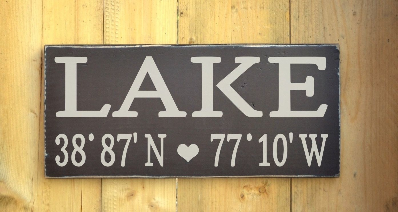 Lake House Decor Wall Art Wooden Signs With Personalized Latitude intended for Most Recent Lake House Wall Art