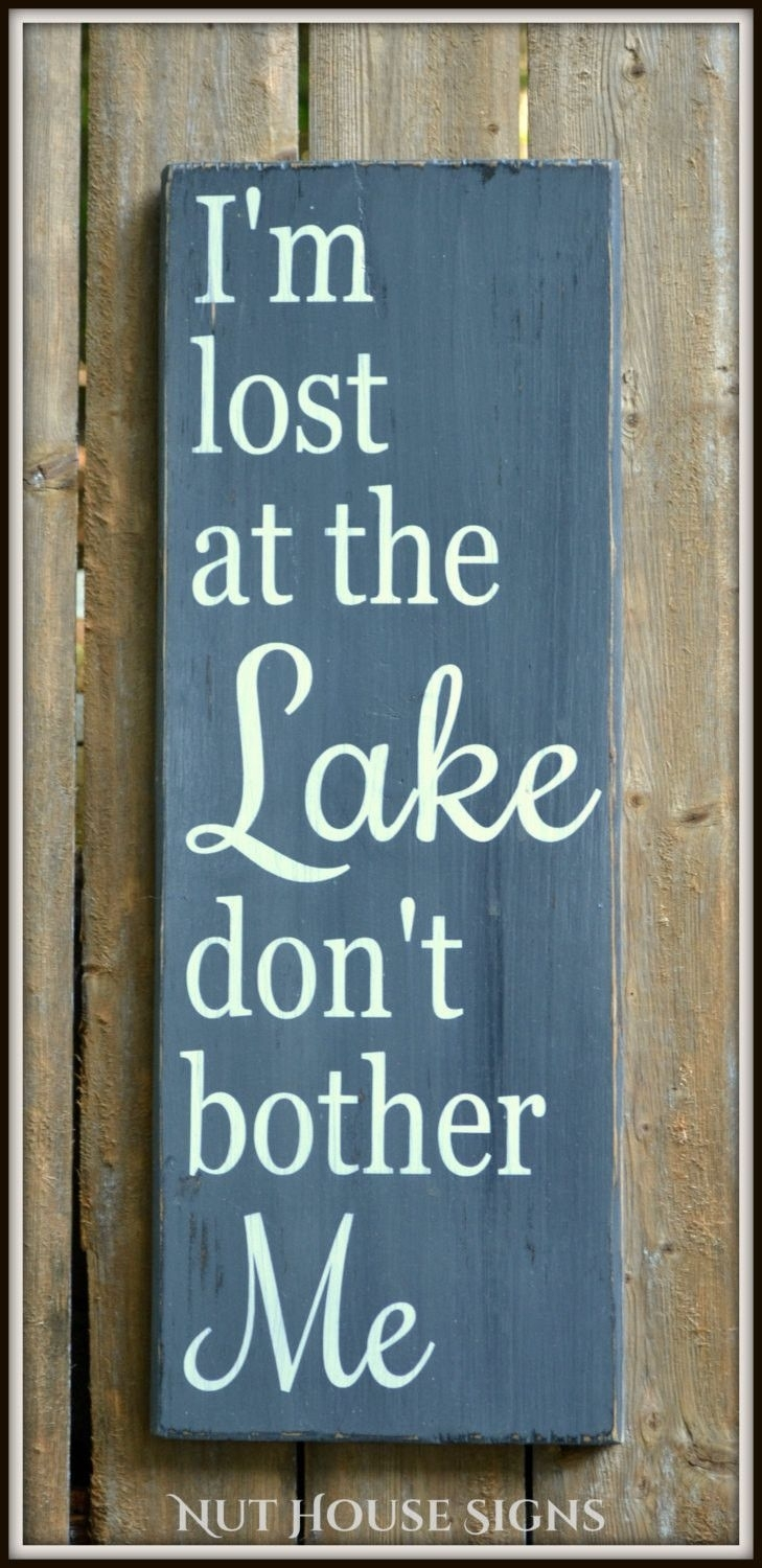 Lake Sign Lake House Decor Chalkboard Housewarming Gift Rustic Wood With Regard To Most Recently Released Lake House Wall Art (Gallery 11 of 15)