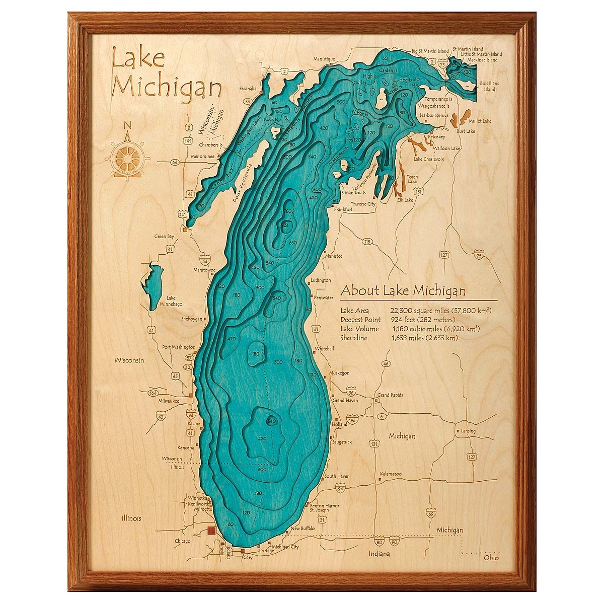Lake Topography Art | Hand Crafted Lake Map Topography Art With Regard To Newest Michigan Wall Art (View 16 of 20)