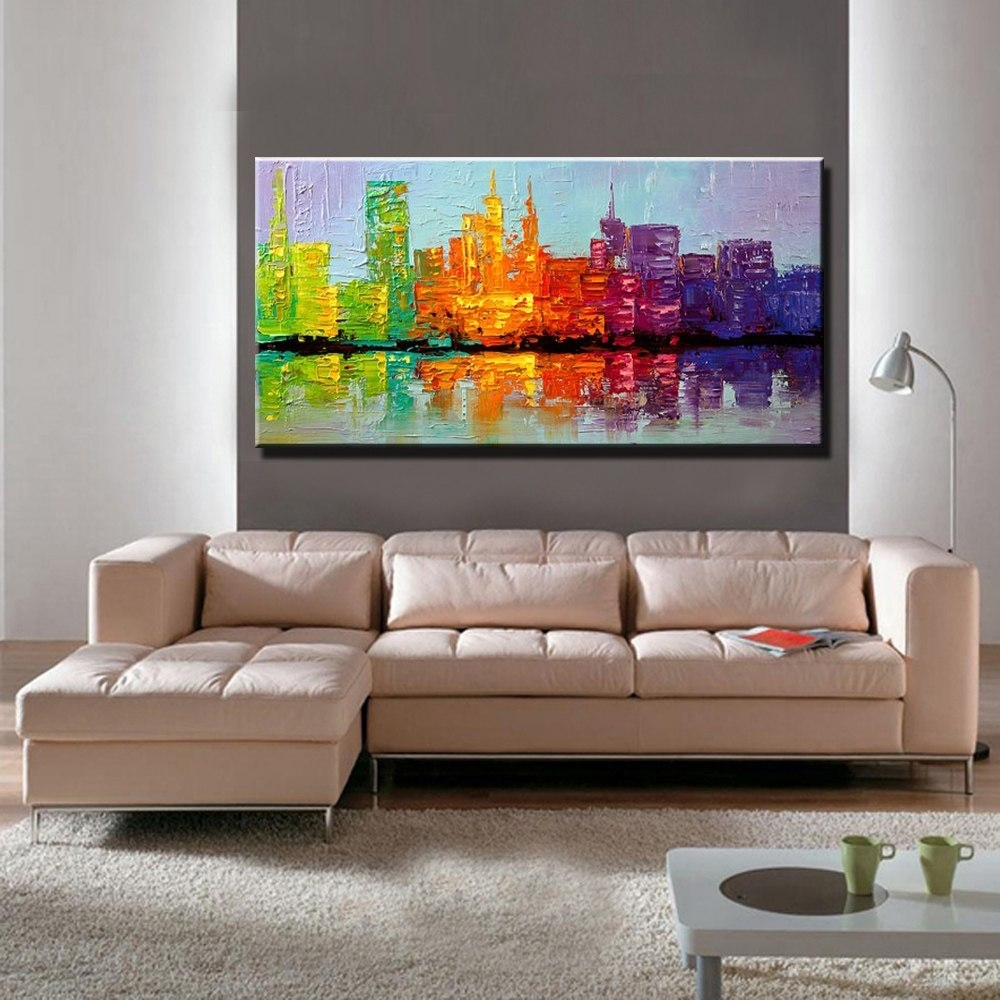 Large Acrylic Knife Paint Hand Painted Abstract Wall Art Building for Latest Acrylic Wall Art