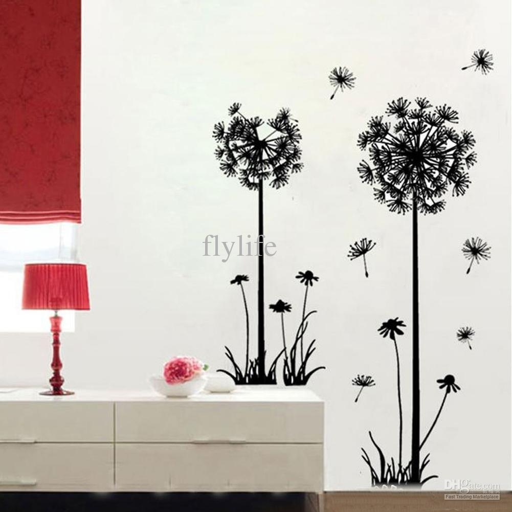 Large Black Dandelion Wall Stickers, Art Room Decor Wall Decals Peel With Regard To Most Current Dandelion Wall Art (View 17 of 20)