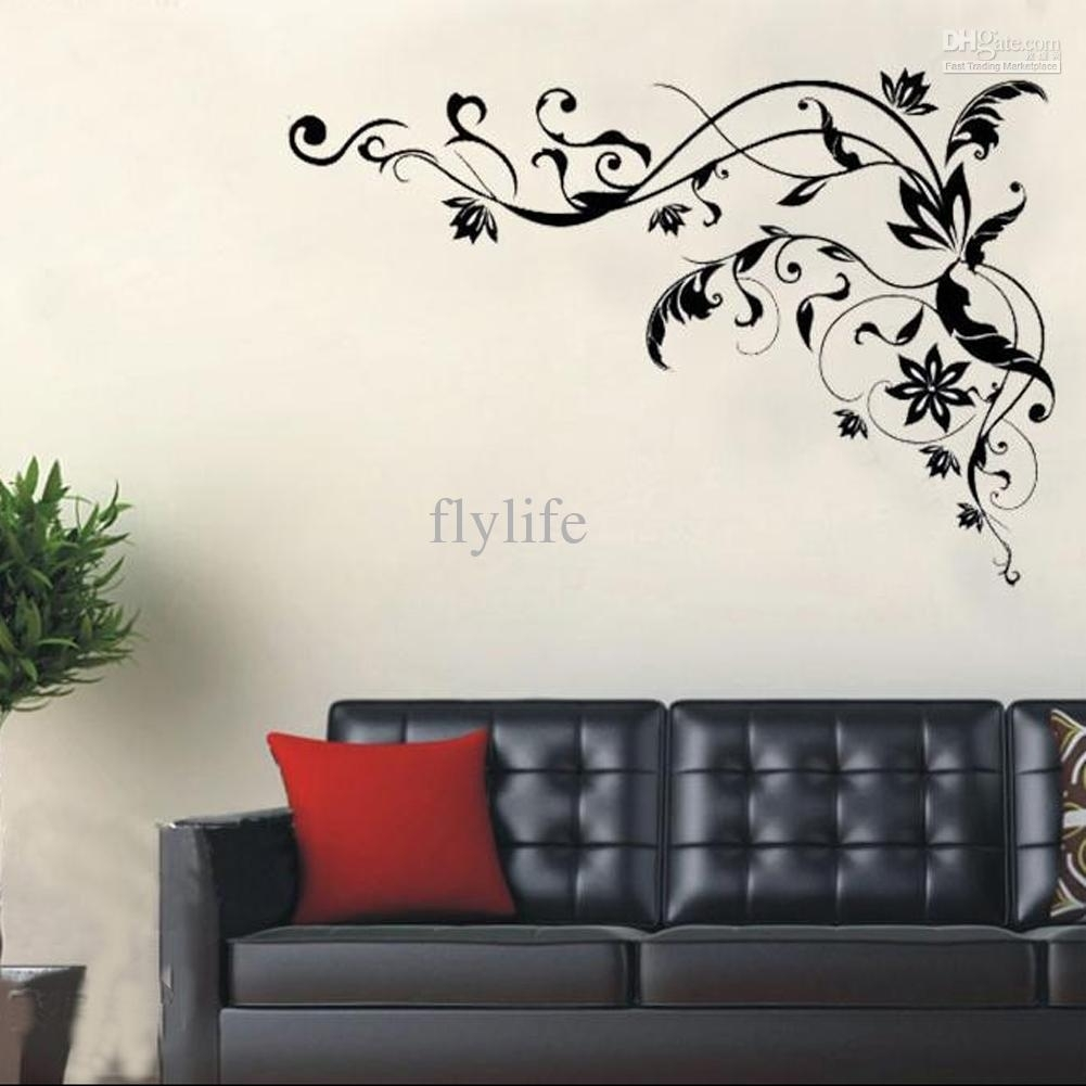 Large Black Vine Art Wall Decals, Diy Home Wall Decor Stickers For Throughout Latest Home Wall Art (Gallery 4 of 20)